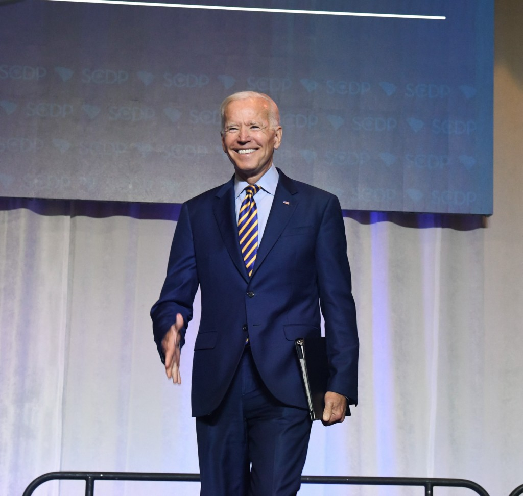 Former Vice President Joe Biden arrives on stage at the South Carolina Democratic Party convention, Saturday, June 22, 2019 in Columbia, S.C.. (AP Pho