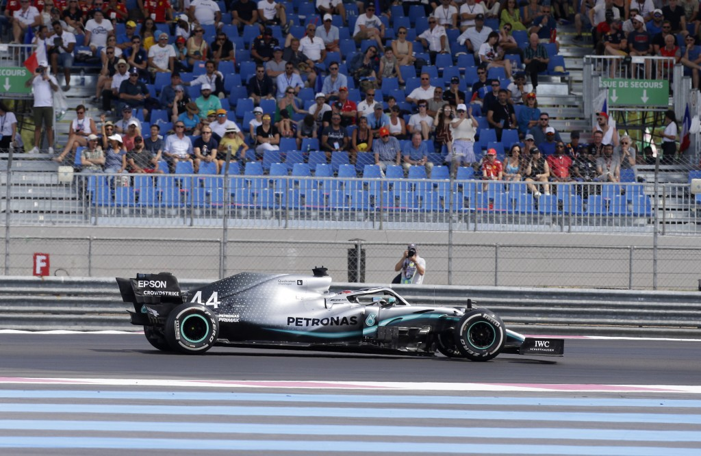 Mercedes driver Lewis Hamilton of Britain steers his car during the French Formula One Grand Prix at the Paul Ricard racetrack in Le Castellet, southe...