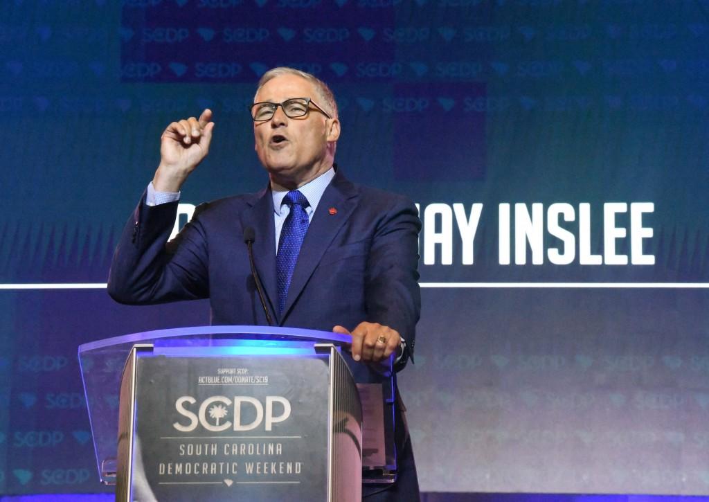 Washington Gov. Jay Inslee addresses the South Carolina Democratic Party convention, Saturday, June 22, 2019 in Columbia, S.C.. (AP Photo/Meg Kinnard)