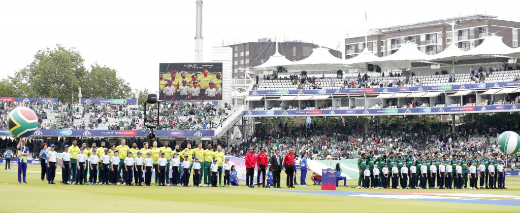 The teams line up for the playing of the national anthems just ahead of the start of the Cricket World Cup match between Pakistan and South Africa at ...