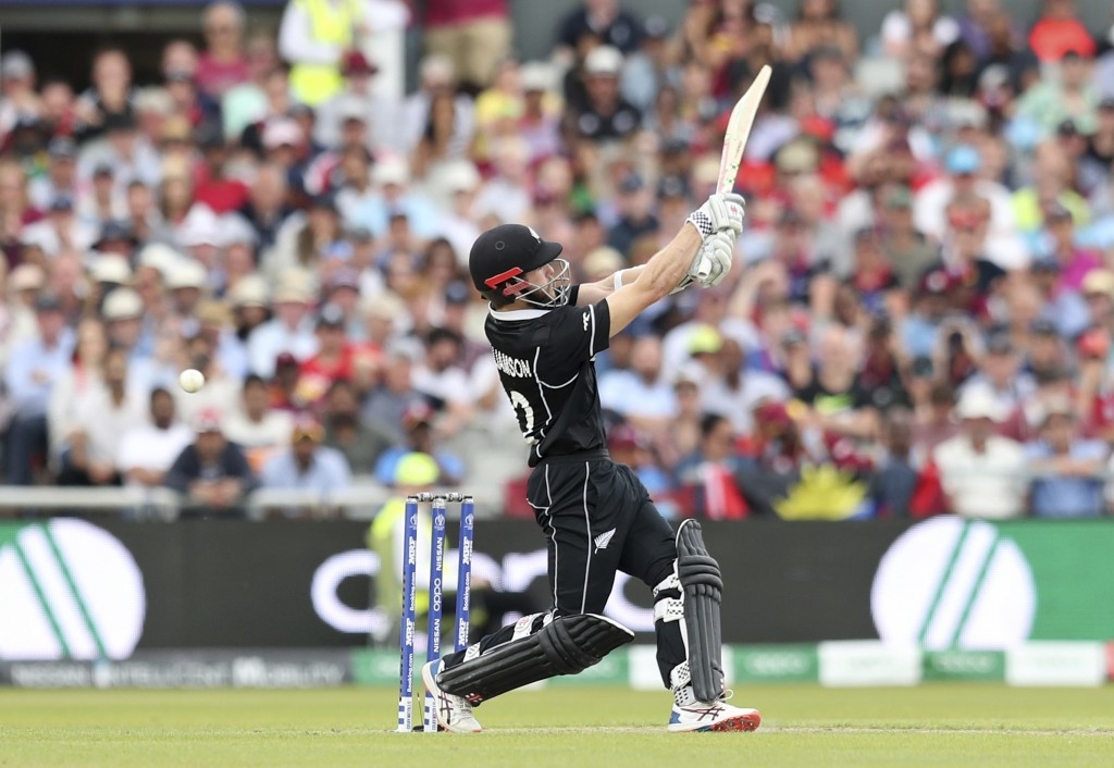 New Zealand's captain Kane Williamson bats during the Cricket World Cup match between New Zealand and West Indies at Old Trafford in Manchester, Engla...