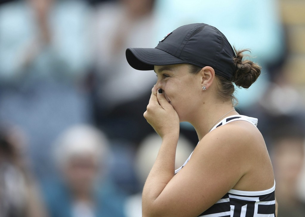 Australia's Ashley Barty reacts after beating Germany's Julia Goerges during the final match of the Nature Valley Classic at Edgbaston Priory Club in ...