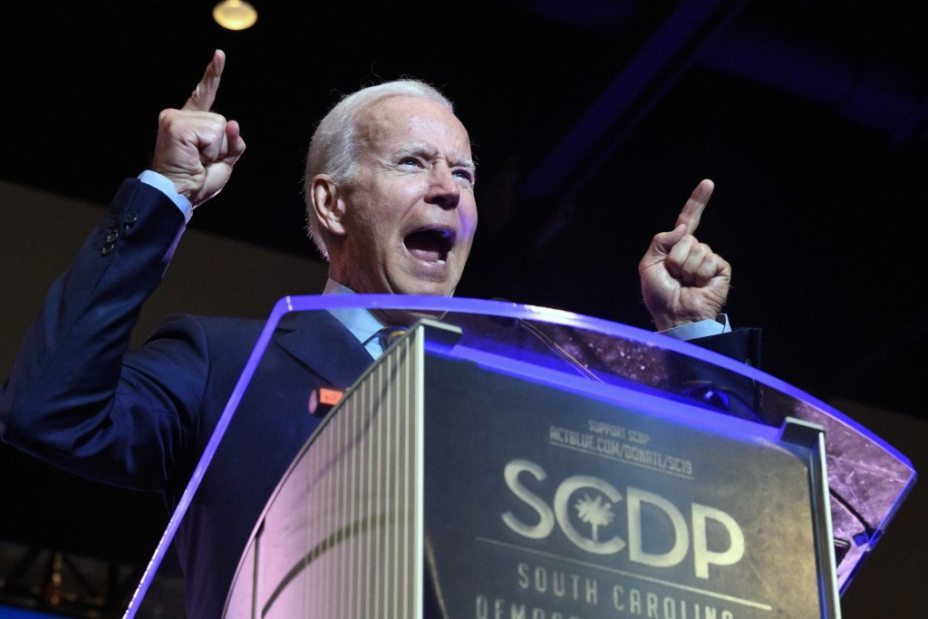 Former Vice President Joe Biden addresses the South Carolina Democratic Party convention, Saturday, June 22, 2019 in Columbia, S.C.. (AP Photo/Meg Kin
