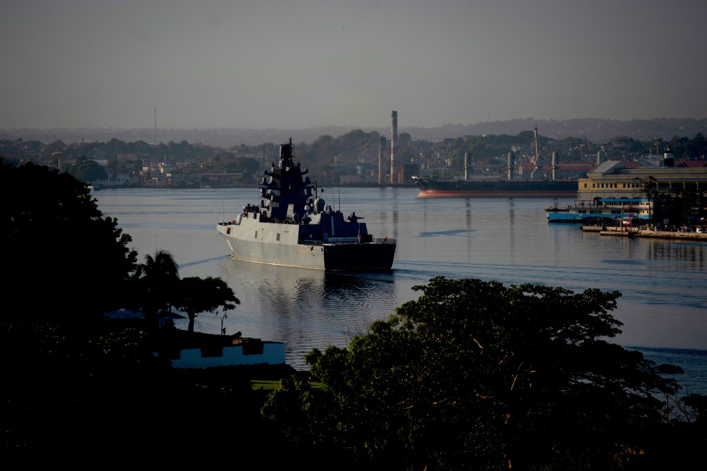 Russian Navy Admiral Gorshkov frigate arrives at the port of Havana, Cuba, Monday, June 24, 2019. A flotilla of Russian Navy vessels entered Havana Ha...