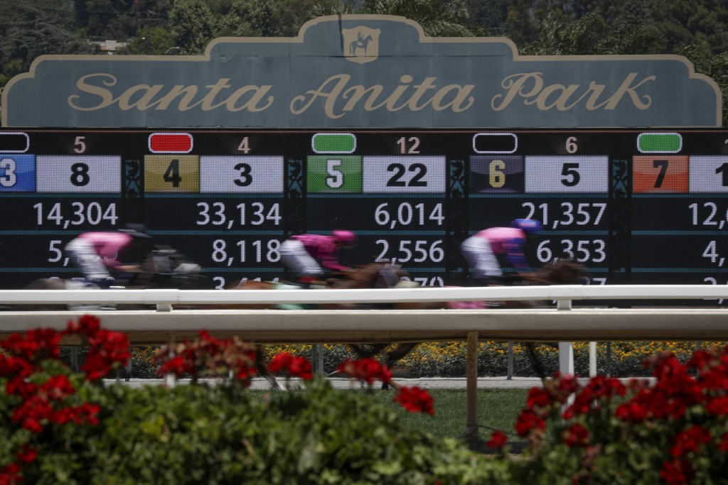 Horses finish the the first race during the last day of the winter/spring meet at the Santa Anita horse racing track Sunday, June 23, 2019, in Santa A...