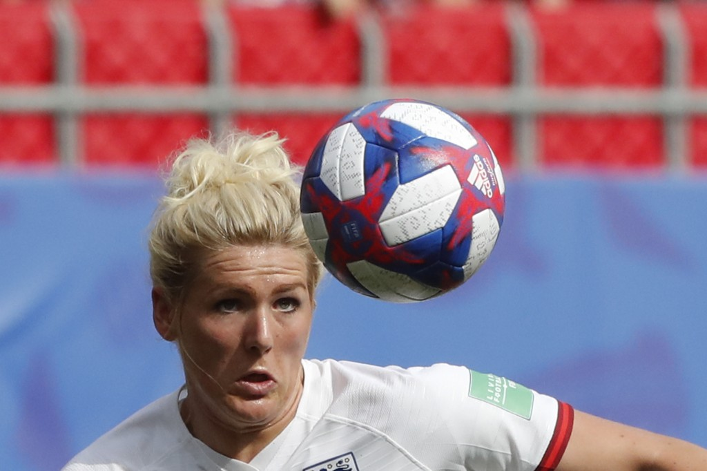 England's Millie Bright eyes the ball during the Women's World Cup round of 16 soccer match between England and Cameroon at the Stade du Hainaut stadi...