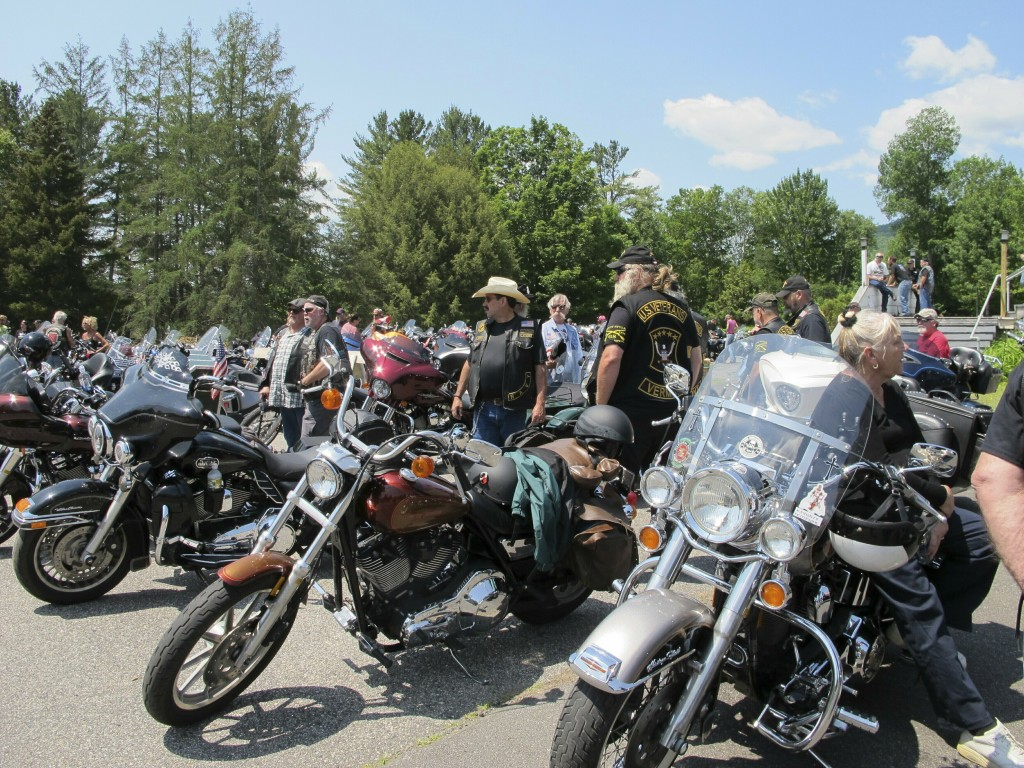 Motorcyclists attend the Blessing of the Bikes ceremony in Columbia, N.H. on Sunday, June 23, 2019. The long-planned ceremony for motorcycle enthusias...