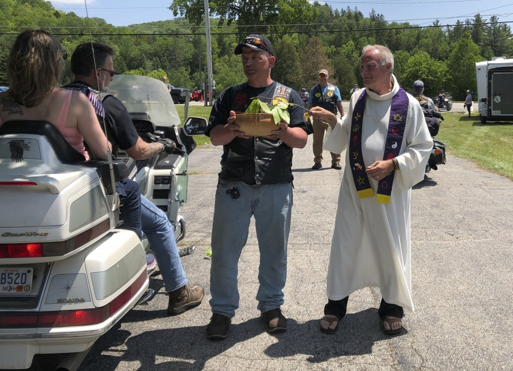 """Motorcyclists participate in a """"Blessing of the Bikes"""" ceremony in Columbia, N.H., Sunday, June 23, 2019. While such ceremonies are periodically held,..."""