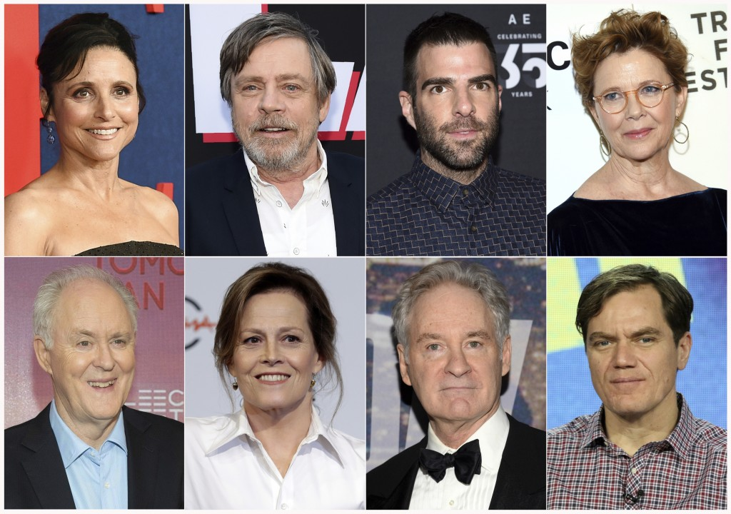 This combination photo shows actors, top row from left, Julia Louis-Dreyfus, Mark Hamill, Zachary Quinto, Annette Bening and bottom row from left, Joh...