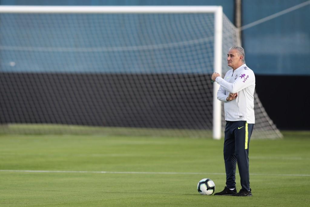 Brazil's coach Tite attends a training session for the Copa America in Porto Alegre, Brazil, Monday, June 24, 2019. (AP Photo/Edison Vara)