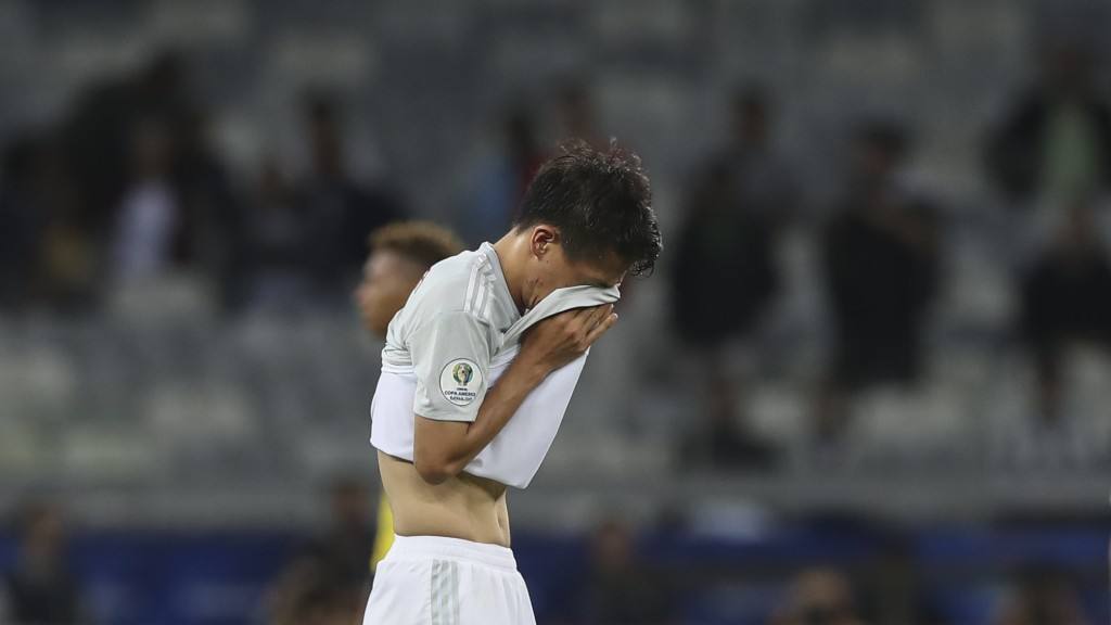 Japan's Daiki Sugioka reacts at the end of a Copa America Group C soccer match against Ecuador at the Mineirao stadium in Belo Horizonte, Brazil, Mond...