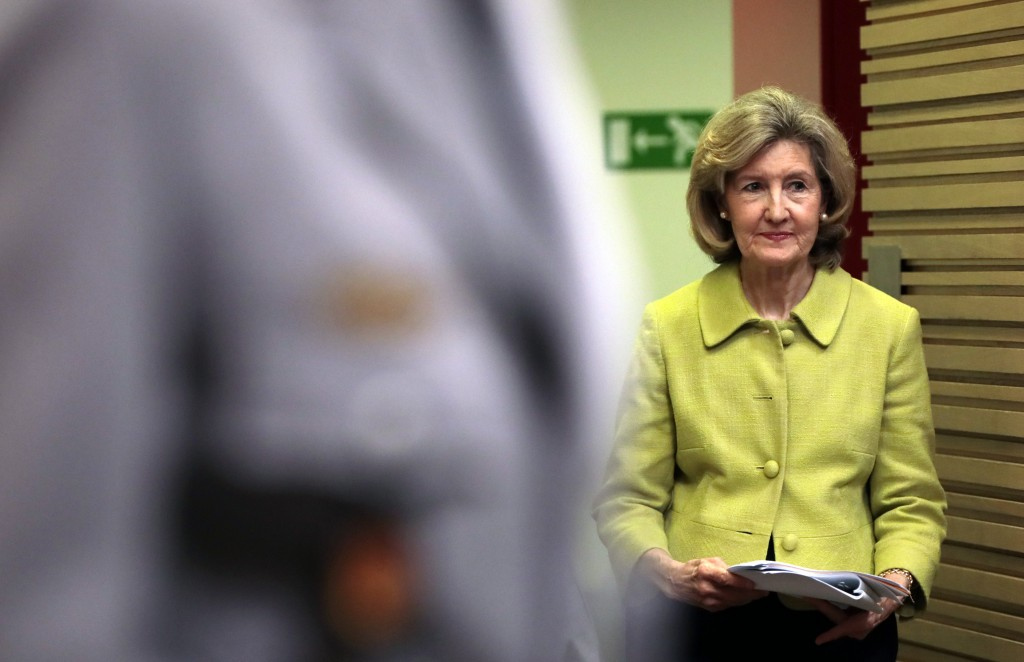 United States Ambassador to NATO Kay Bailey Hutchison walks to the podium prior to a media conference at NATO headquarters in Brussels, Tuesday, June ...