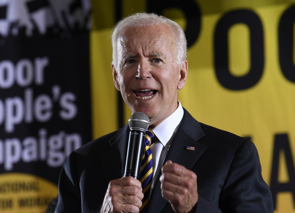 FILE - In this June 17, 2019, file photo, Democratic presidential candidate, former Vice President Joe Biden, speaks in Washington. A new poll from Th...