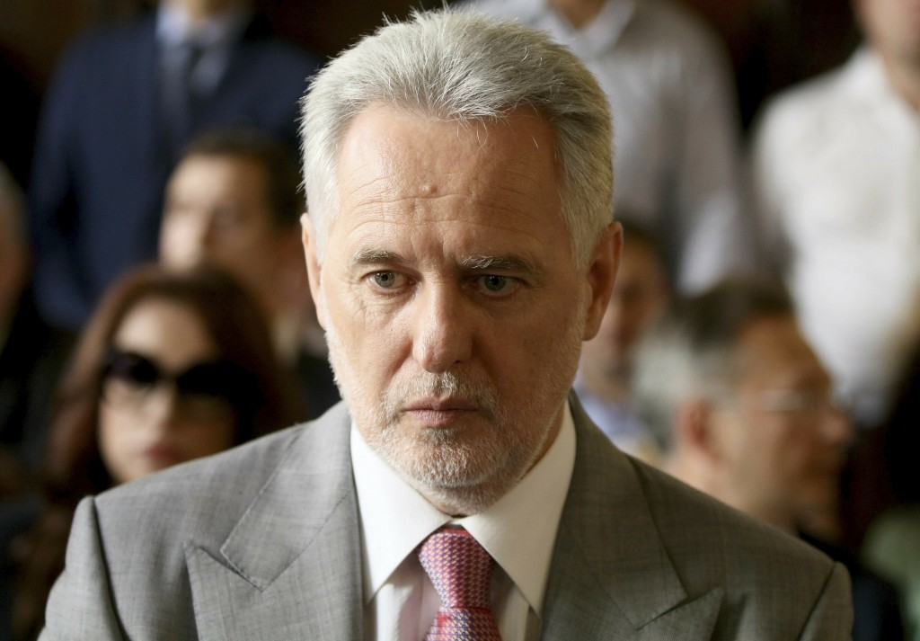 Ukrainian oligarch Dymitro Firtash waits for the start of his trial at the Austrian supreme court in Vienna, Austria, Tuesday, June 25, 2019. Austrian...
