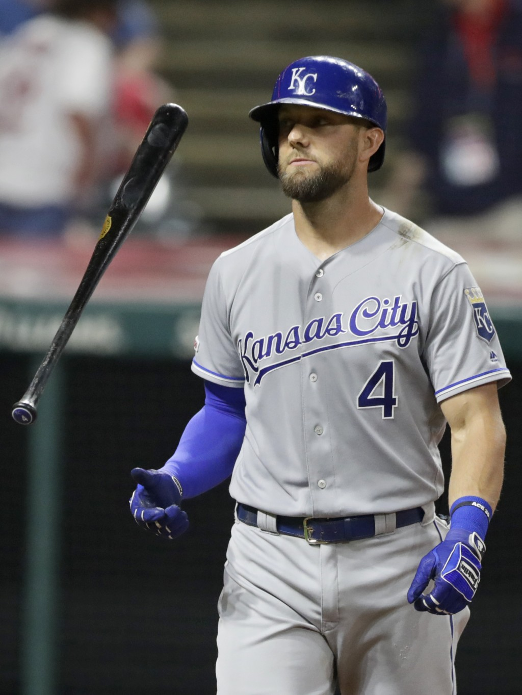 Kansas City Royals' Alex Gordon flips his bat after striking out in the sixth inning of a baseball game against the Cleveland Indians, Monday, June 24...