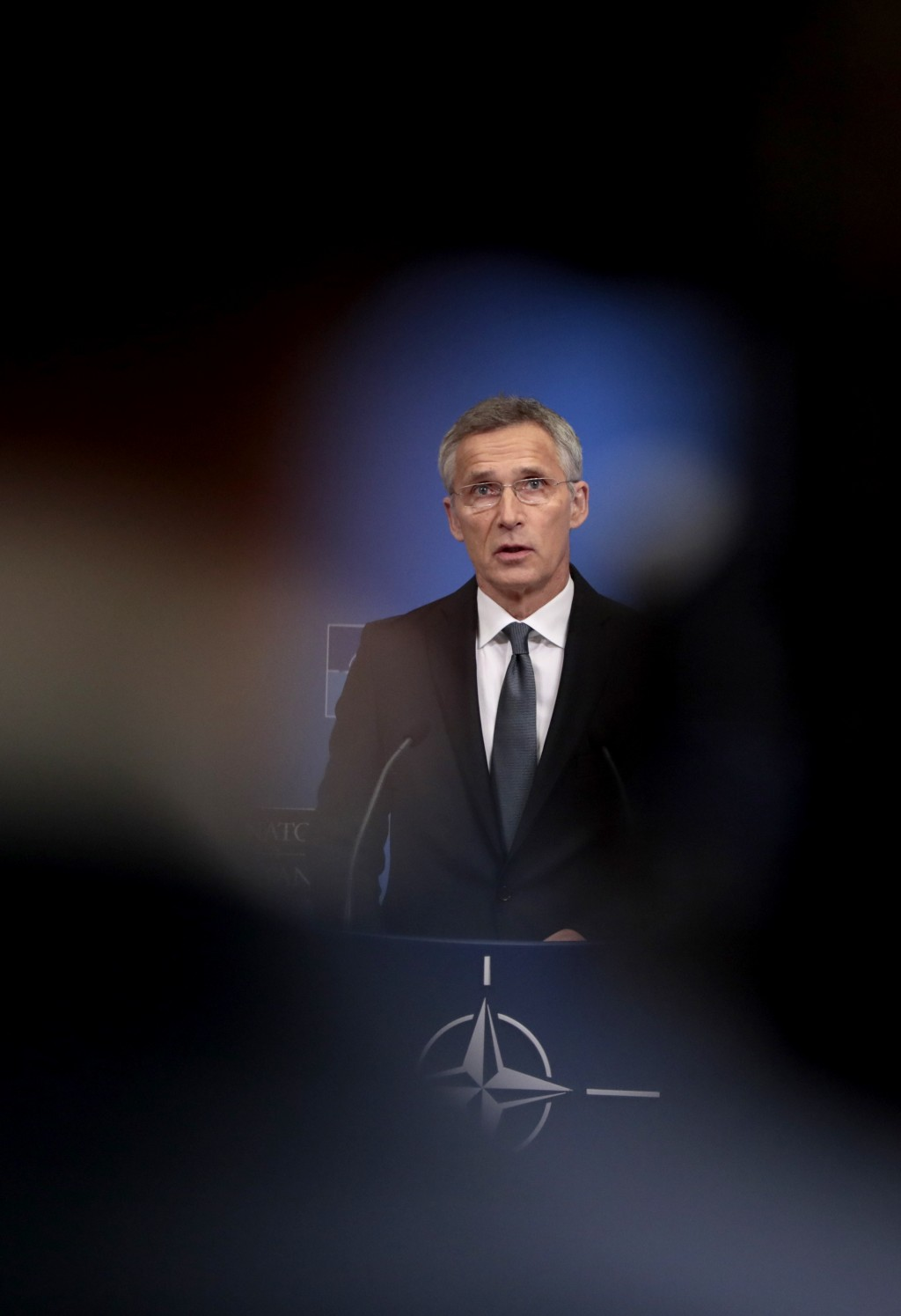 NATO Secretary General Jens Stoltenberg speaks during a media conference at NATO headquarters in Brussels, Tuesday, June 25, 2019.NATO defense ministe...