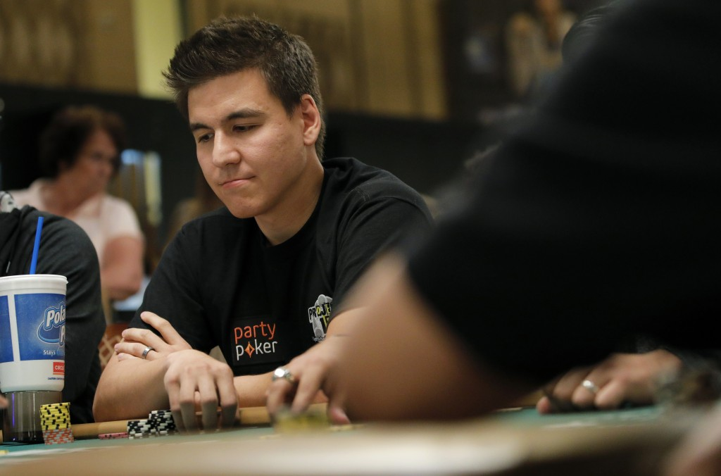 """""""Jeopardy!"""" champion and professional sports gambler James Holzhauer plays in a tournament at the World Series of Poker, Monday, June 24, 2019, in Las..."""
