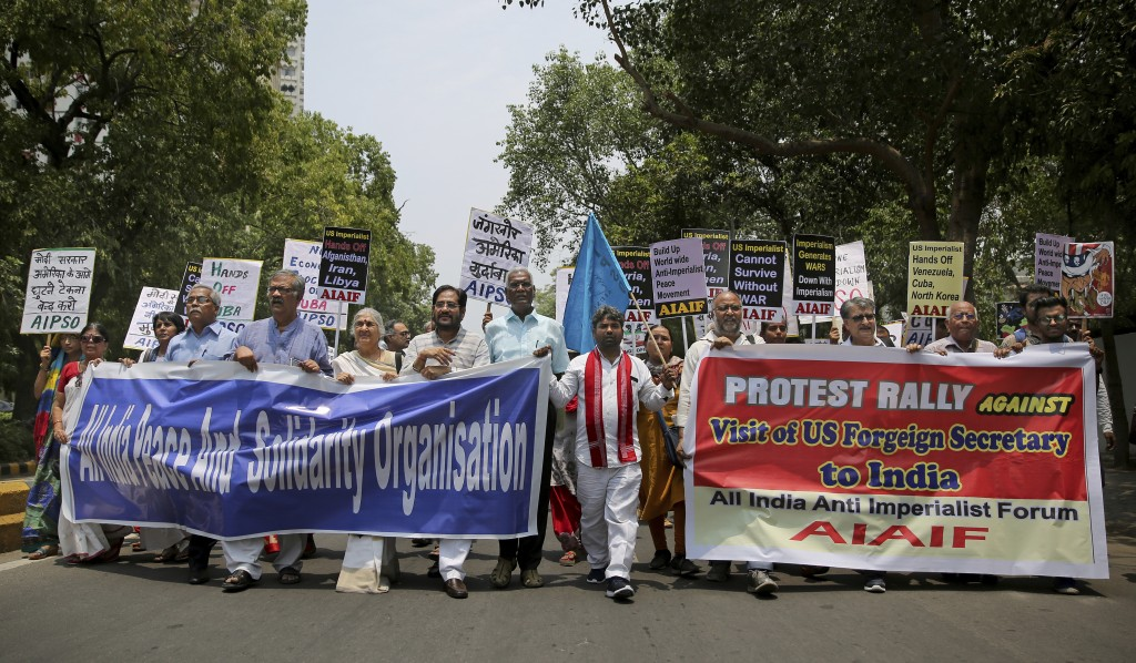 Activists of various left organizations protest against the upcoming visit of U.S. Secretary of State Mike Pompeo to India, in New Delhi, India, Tuesd...