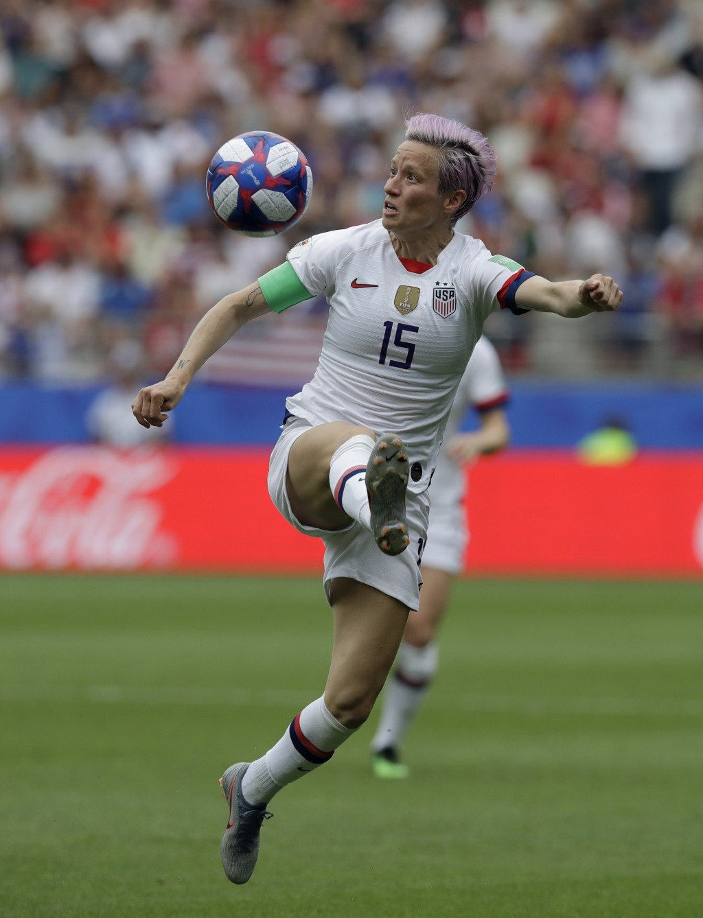 United States'Megan Rapinoe controls the ball during the Women's World Cup round of 16 soccer match between Spain and US at the Stade Auguste-Delaune ...