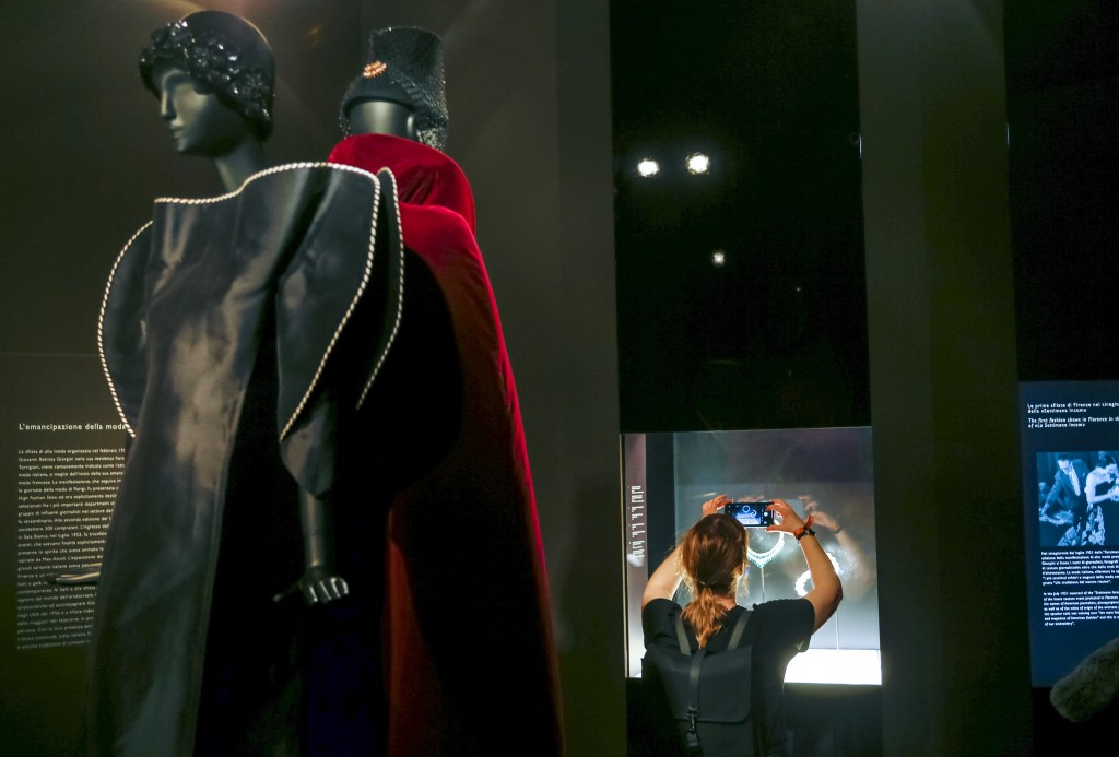 """Two creations from the 1960' by fashion designer Roberto Capucci are on display during a preview of the exhibition """"Bulgari. The story, the dream"""" at ..."""