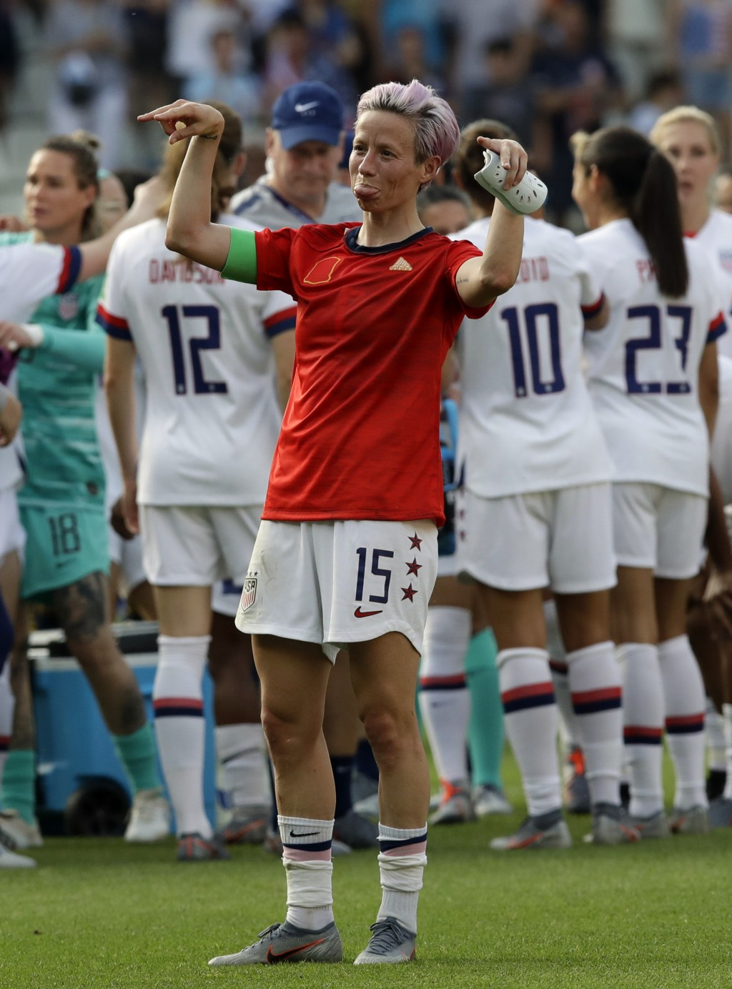United States'Megan Rapinoe celebrates at the end of the Women's World Cup round of 16 soccer match between Spain and US at the Stade Auguste-Delaune ...