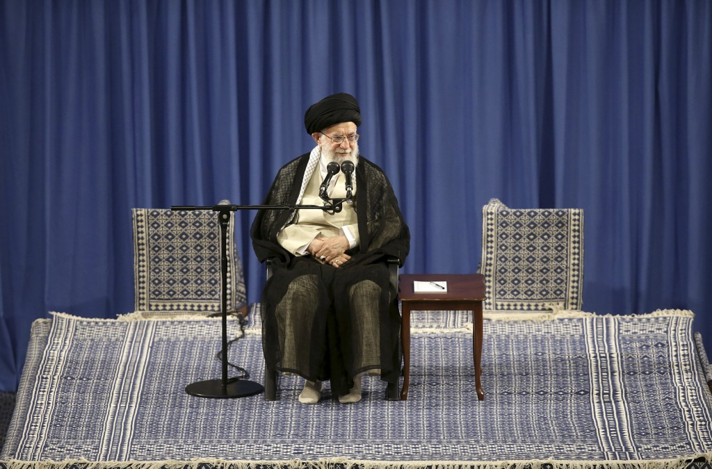 In this picture released on May 29, 2019, by the official website of the office of the Iranian supreme leader, Supreme Leader Ayatollah Ali Khamenei a...