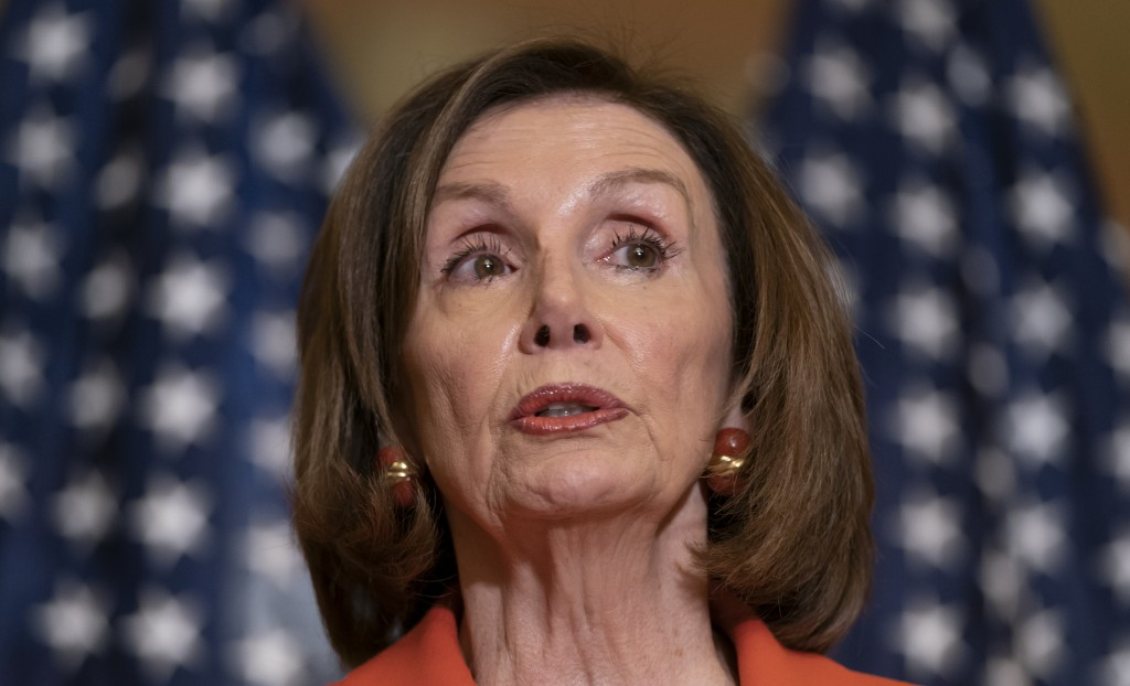 In this June 21, 2019, photo, House Speaker Nancy Pelosi of Calif., speaks with reporters at the Capitol in Washington. Pelosi says President Donald T...