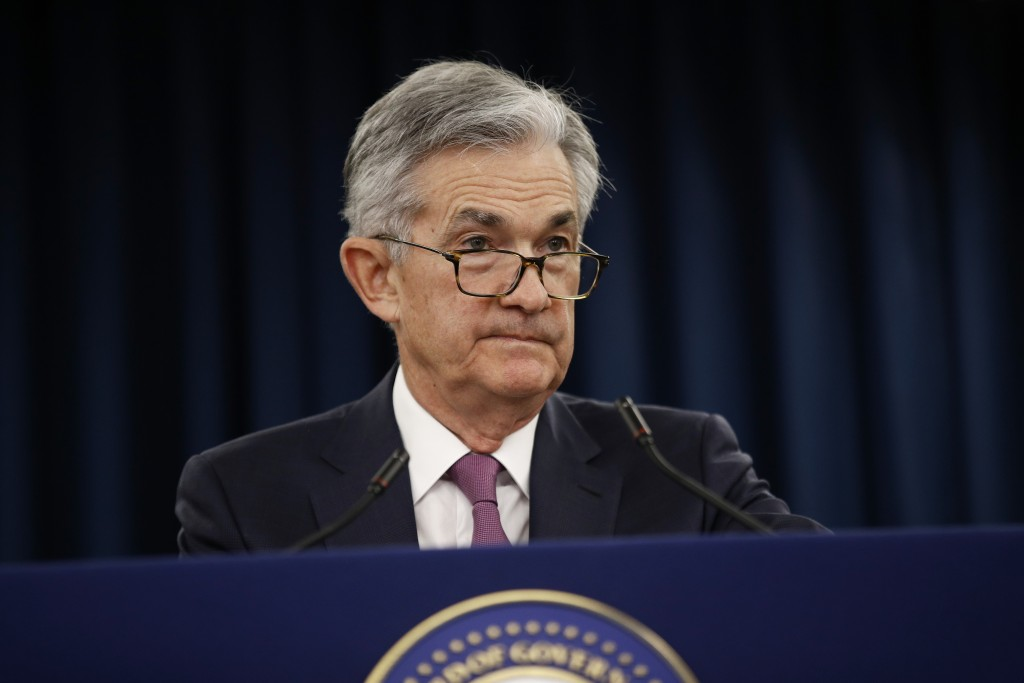 FILE - In this May 1, 2019, file photo Federal Reserve Board Chair Jerome Powell speaks at a news conference following a two-day meeting of the Federa...