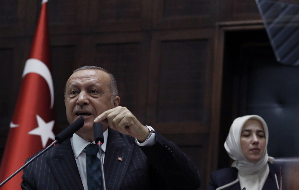 Turkey's President Recep Tayyip Erdogan addresses his ruling party MPs, in Ankara, Turkey, Tuesday, June 25, 2019, two days after Ekrem Imamoglu, the ...