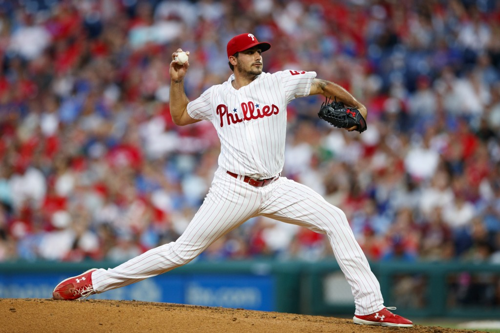 Philadelphia Phillies' Zach Eflin pitches during the third inning of a baseball game against the New York Mets, Monday, June 24, 2019, in Philadelphia...