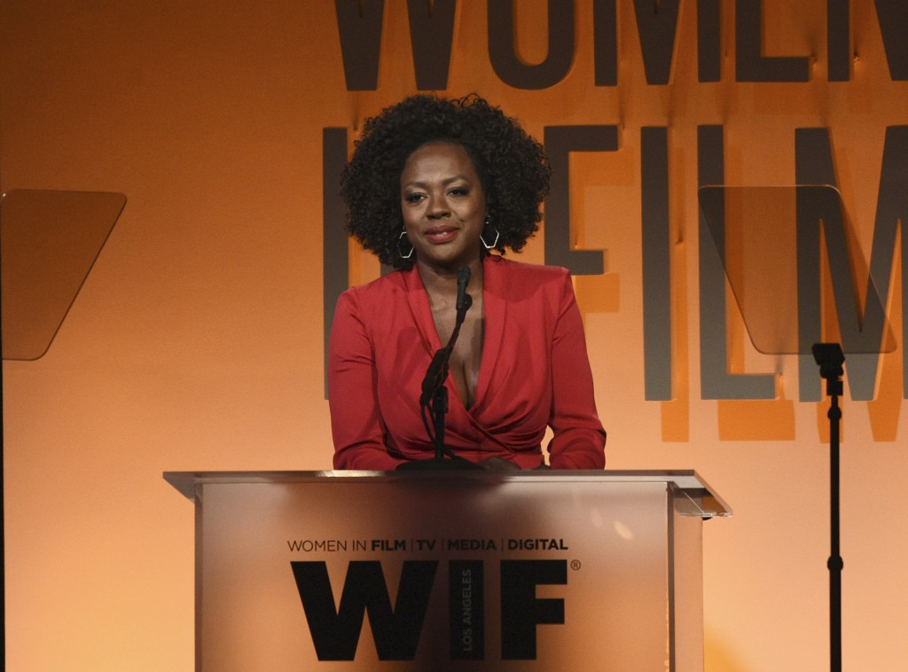 FILE - This June 12, 2019 file photo shows Viola Davis speaking at the Women in Film Annual Gala in Beverly Hills, Calif. Davis believes in equality a...