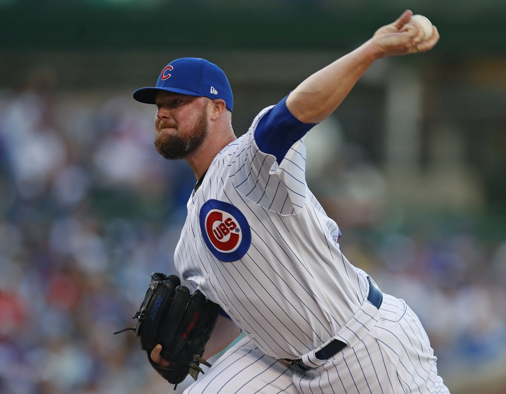 Chicago Cubs' Jon Lester pitches against the Atlanta Braves during the first inning of a baseball game Monday, June 24, 2019, in Chicago. (AP Photo/Ji...