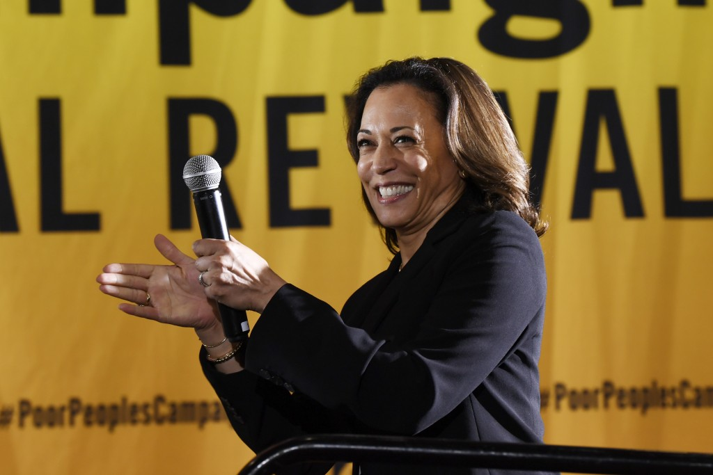 FILE - In this June 17, 2019, file photo, Democratic presidential candidate Sen. Kamala Harris, D-Calif., speaks at the Poor People's Moral Action Con...