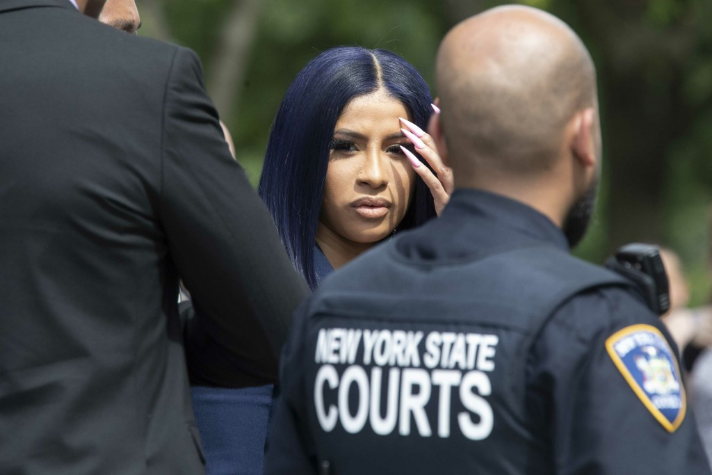 Rapper Cardi B leaves Queens County Criminal Court, Tuesday, June 25, 2019, in New York. (AP Photo/Mary Altaffer)