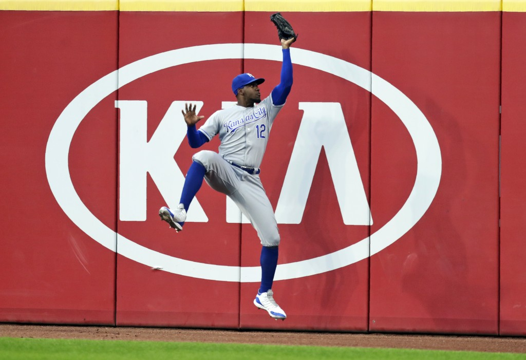 Kansas City Royals' Jorge Soler catches a ball hit by Cleveland Indians' Oscar Mercado in the fifth inning of a baseball game, Tuesday, June 25, 2019,...