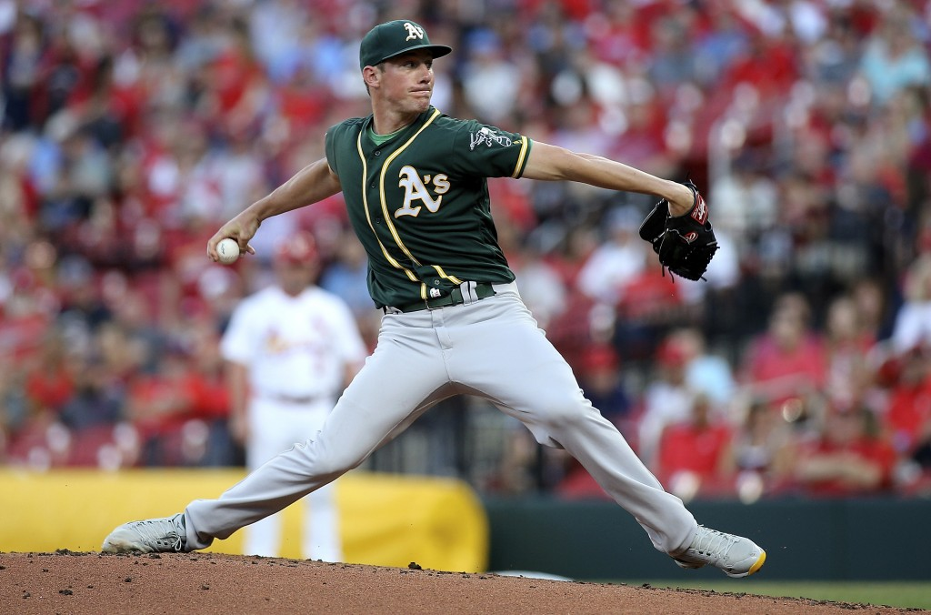 Oakland Athletics starting pitcher Chris Bassitt delivers during the first inning of the team's baseball game against the St. Louis Cardinals on Tuesd...