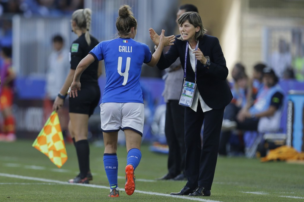 Italy's Aurora Galli, left, is congratulated by Italy head coach Milena Bertolini after scoring their side's second goal during the Women's World Cup ...