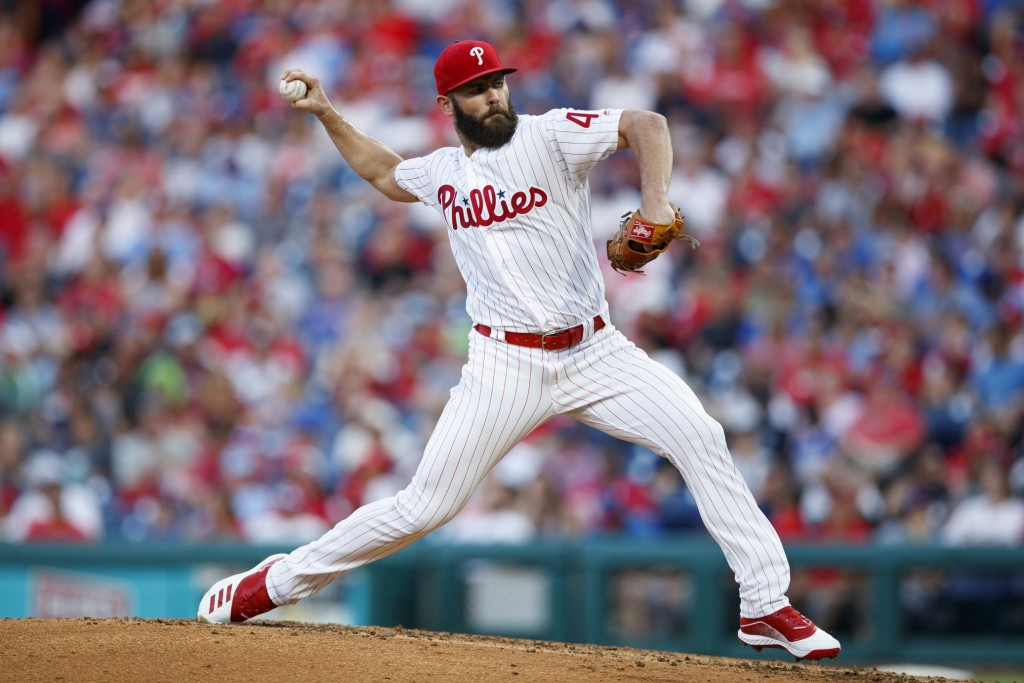 Philadelphia Phillies' Jake Arrieta pitches during the third inning of the team's baseball game against the New York Mets, Tuesday, June 25, 2019, in ...