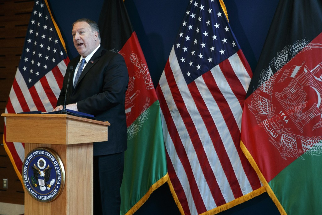 Secretary of State Mike Pompeo speaks during a news conference at the U.S. Embassy, Tuesday, June 25, 2019, during an unannounced visit to Kabul, Afgh...