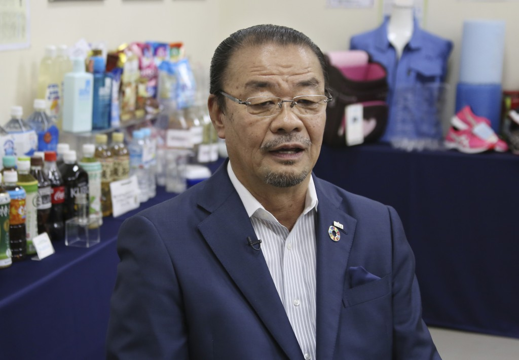 In this June 18, 2019, photo, Kyoei Industry Co., President Eiichi Furusawa speaks during an interview with The Associated Press at his office in Toky