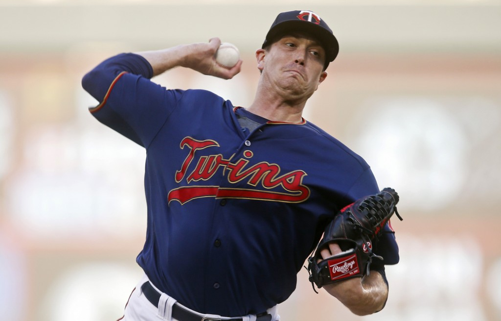Minnesota Twins pitcher Kyle Gibson throws against the Tampa Bay Rays in the first inning of a baseball game, Tuesday, June 25, 2019, in Minneapolis. ...