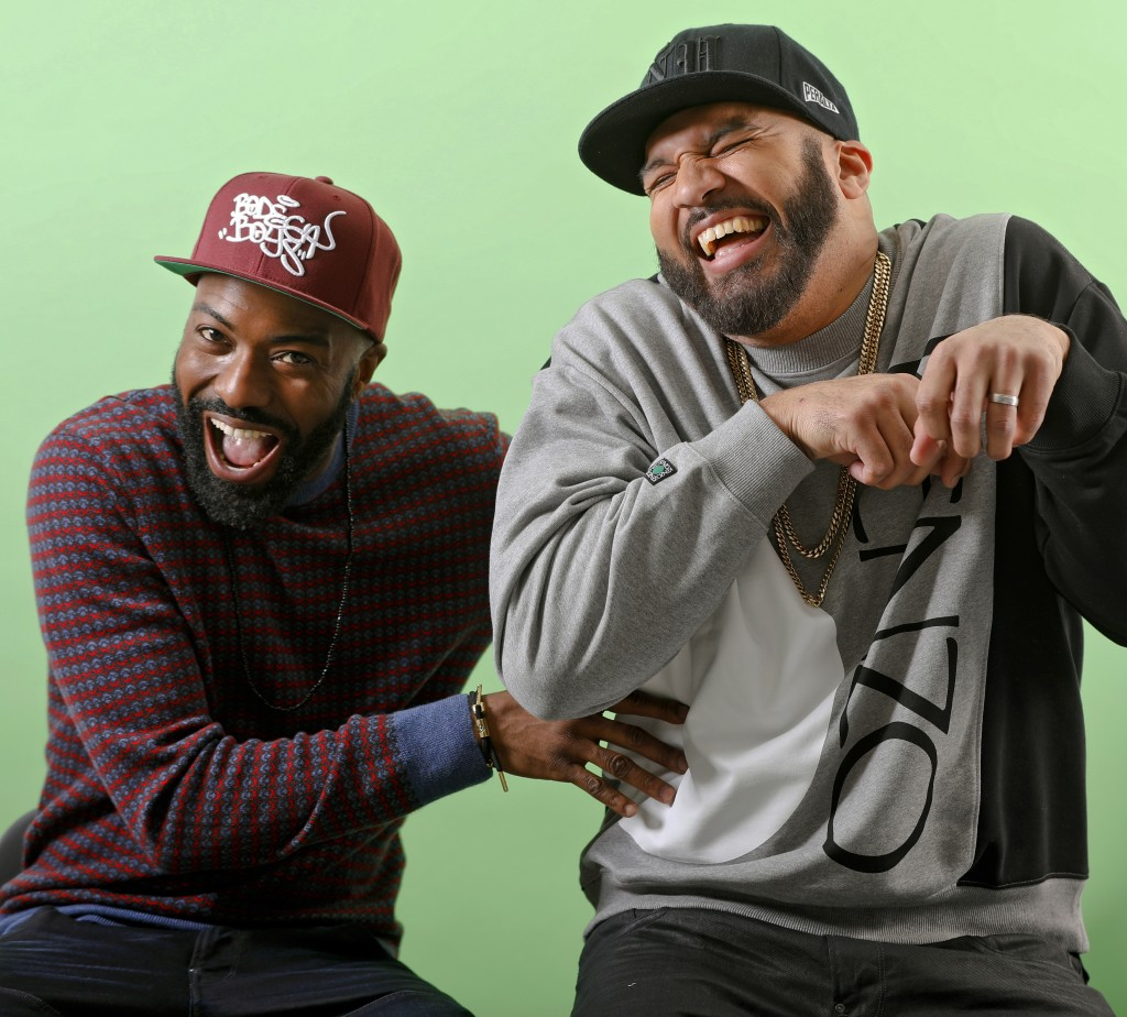 This March 19, 2019 photo shows Daniel Baker, better known as Desus Nice, left, and Joel Martinez, also known as The Kid Mero, during a portrait sessi...