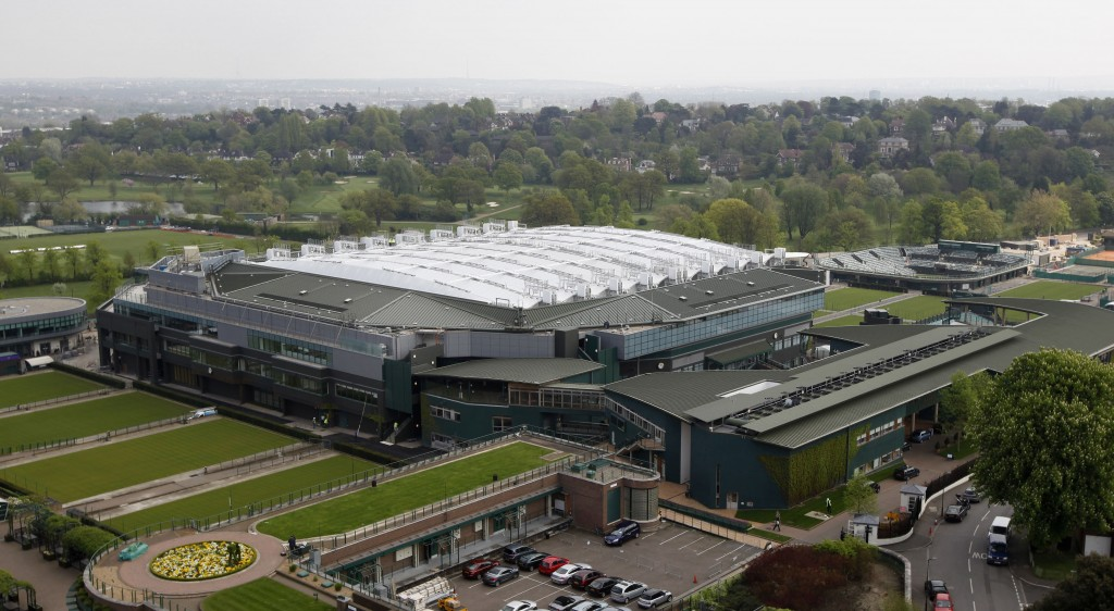 FILE - This April 21, 2009, file photo shows a general view of Wimbledon's Centre Court at the All England Tennis Club at Wimbledon, London. Wimbledon...