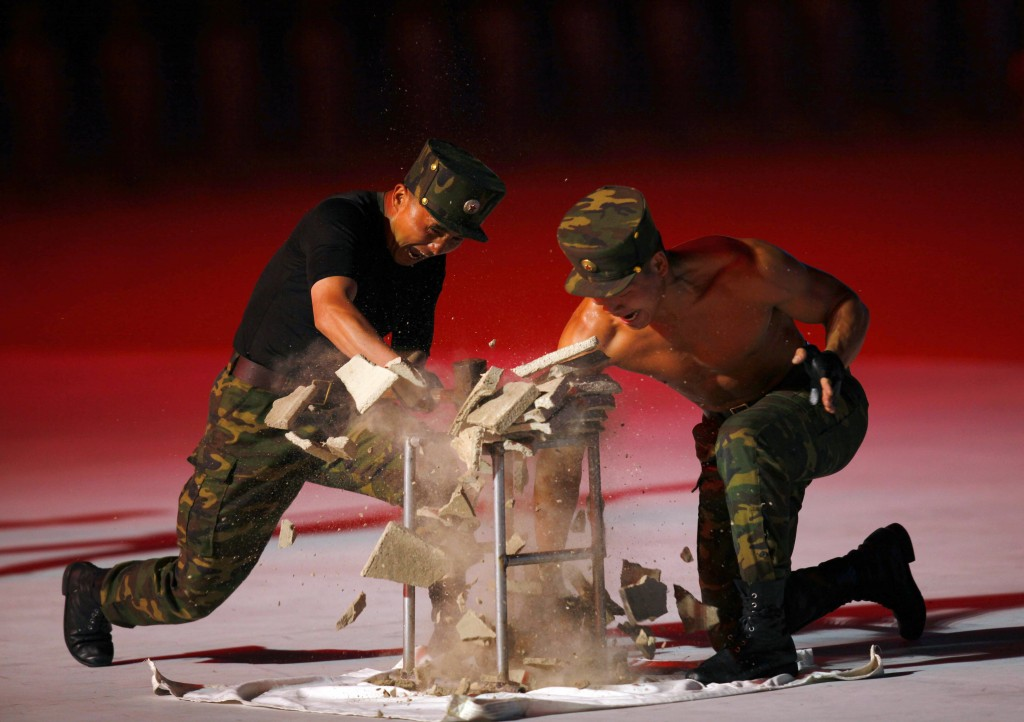 """North Korean soldiers show their skills during a mass game performance of """"The Land of the People"""" at the May Day Stadium in Pyongyang, North Korea, T..."""