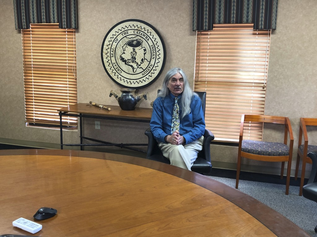 In an April 26, 2019 photo, Catawba Indian Nation Chief Bill Harris talks about how his South Carolina-based tribe is trying to get permission to buil...