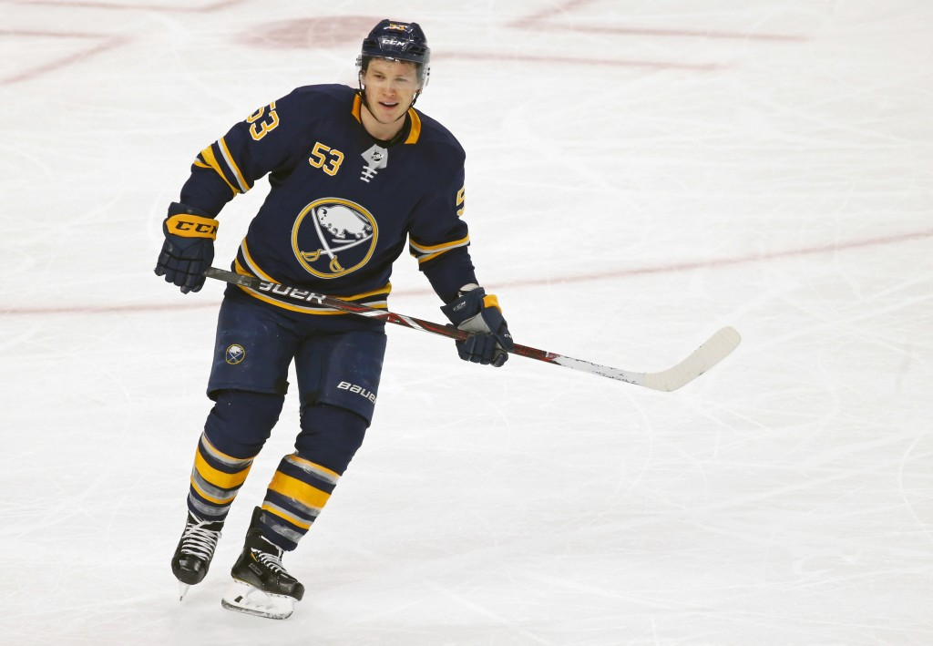 FILE - In this Jan. 8, 2019, file photo, Buffalo Sabres forward Jeff Skinner (53) skates during the third period of an NHL hockey game against the New...