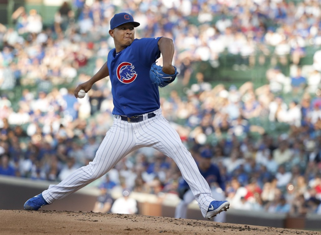 Chicago Cubs starting pitcher Adbert Alzolay delivers during the second inning of a baseball game against the Atlanta Braves, Tuesday, June 25, 2019, ...
