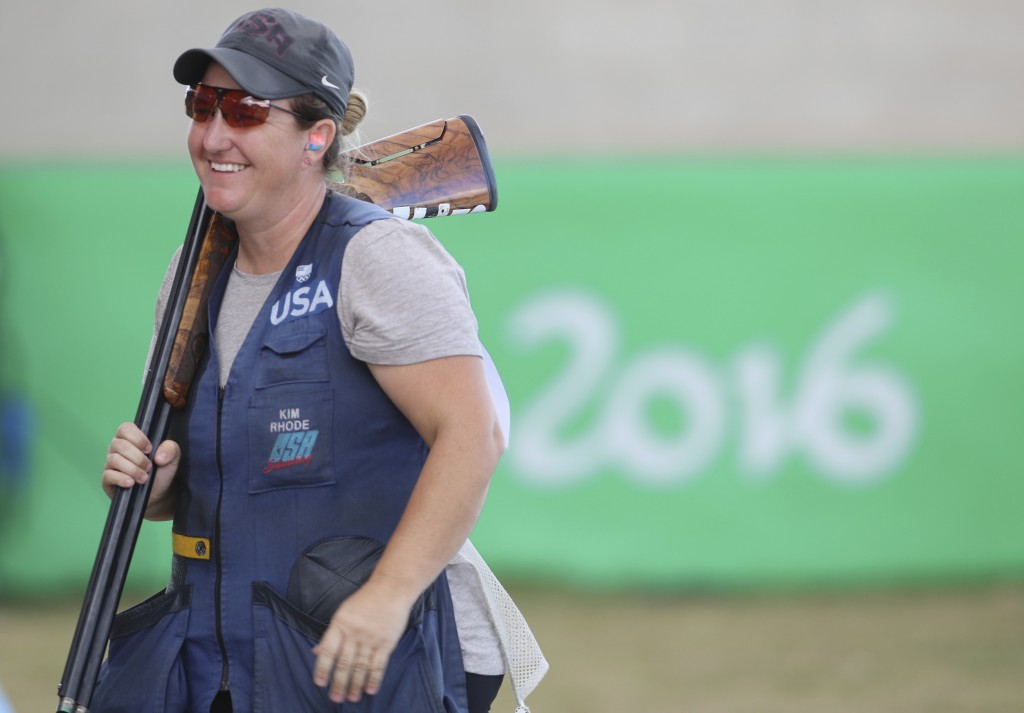 FILE -- In this Aug. 12, 2016 file photo Kimberly Rhode of the United States smiles after she won the bronze medal match of the women's skeet event at