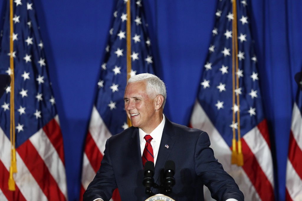 Vice President Mike Pence speaks during a rally on Tuesday, June 25, 2019 in Miami. (AP Photo/Brynn Anderson)