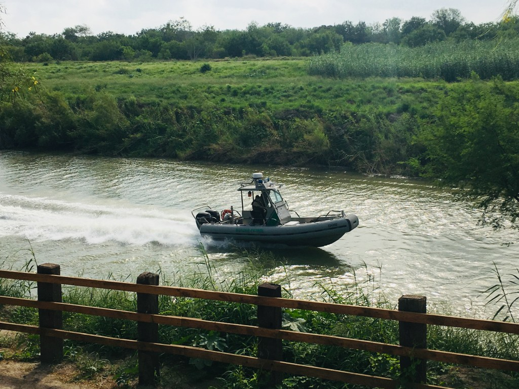 A U.S. Border Patrol boat navigates the Rio Grande near where the bodies of Salvadoran migrant Oscar Alberto Martínez Ramírez and his nearly 2-year-ol...